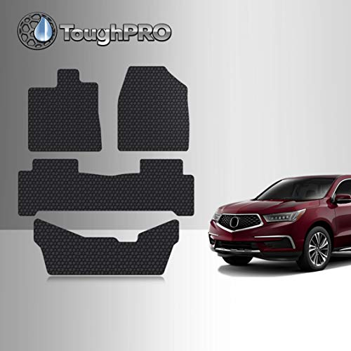 TOUGHPRO Floor Mat Accessories Compatible with Acura MDX - All Weather - Heavy Duty - (Made in USA) - Black Rubber - 2014, 2015, 2016, 2017, 2018, 2019, 2020 (1st + 2nd + 3rd Row)