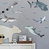 RoomMates - RMK4311SCS Sharks Peel And Stick Wall Decals   Blue & Gray Wall Stickers