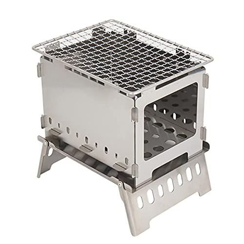 Wolfberrymetal Folding Grill,Outdoor Folding Furnace Grill Camp Stainless Steel Windbreak Fire Platform Barbecue Stove Outdoor Picnics(Silver)