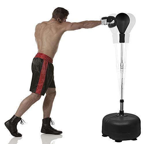 Saco de boxeo de pie, saco de boxeo de pie, saco de boxeo de pie, saco de boxeo con base de ventosa para entrenamiento de boxeo, altura regulable de 120 a 150 cm (adecuado para niños y adultos)