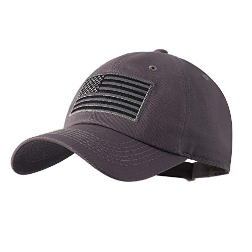 IIN USA American Flag Baseball Cap for Men Women Low Profile Army Military Fitted Dad Hat (Dark Gray)