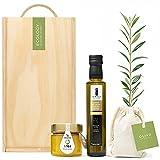 Lote Gourmet Regalo Oleomel con árbol olivo natural para plantar, aceite de oliva virgen extra y crema untable de aceite y miel