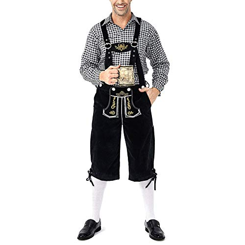 Heren Oktoberfest lederen broek kostuum ruitje Duitse Guys Beierse klederdrachtoutfit volwassenen kostuum