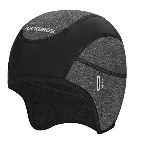 ROCK BROS Skull Cap Helmet Linerwith Glasses Holes Winter Thermal Cycling Cap Beanie for Men Women Cycling Running Hiking Skiing Black
