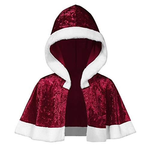 Xiangdanful Weihnachten Umhang Kapuzen Fell Cape Santa Cosplay Kostüm Coat Weihnachtsmantel Hochzeit Braut Winter Poncho Mit Pelzbesatz Santa Weihnachtskostüm Damen Winterjacke (M, Wein)