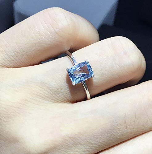 Unusual Blue Topaz Ring Engagement ring Birthstone Solitaire Ring Mother/'s Day gift Wearable Jewelry Art Modern Adjustable Silver Ring