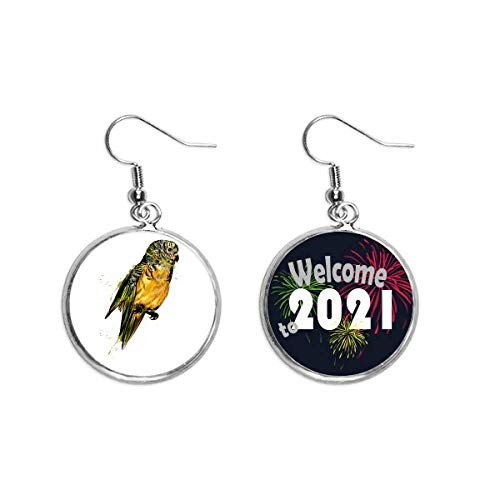 Yellow Budgie Parrot Bird Ear Pendants Earring Jewelry 2021 Blessing