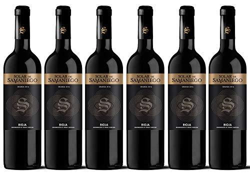Vino tinto Solar de Samaniego Crianza – Añada 2016 – D.O.Ca. Rioja – Uva Tempranillo – Crianza de 12 meses en barrica de roble – Caja de 6 botellas de 750 ml