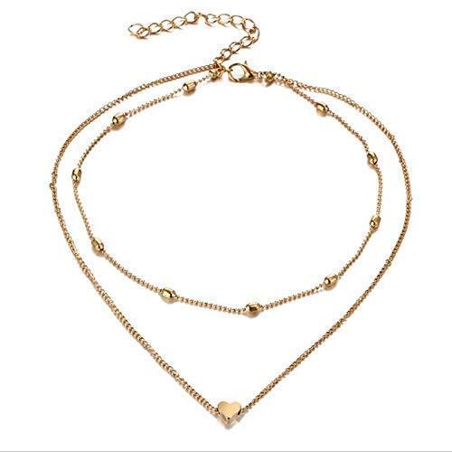 Damen Halskette mit kleinem Herz in Gold   Zwei Ketten aus Edelstahl   Doppelkette einzel tragbar…
