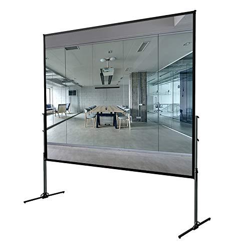 DELUXX Professional mobile Rahmen-Beamer-Leinwand mit umlaufend perfekt gespanntem Leinwand-Tuch zur Rückprojektion - 305 x 183cm - 140''