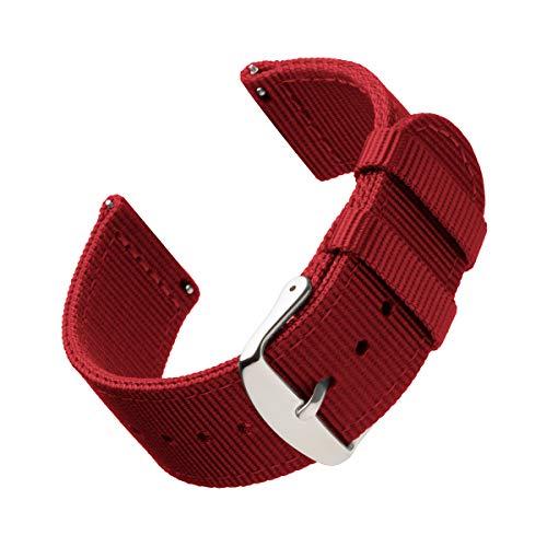 Archer Watch Straps | Repuesto de Correa de Reloj de Nailon para Hombre y Mujer, Correa Fácil de Abrochar para Relojes y Smartwatch | Rojo, 22mm