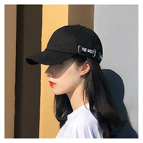 YSDSPTG Sombrero de Sol Visor Cap niña Coreano Estudiante Sol Sombrero en Primavera y Verano Tendencia de Ocio en Verano Pareja béisbol Gorra Adulto Camionero Sombrero (Color : Black, Size : 54 60cm)