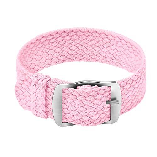 ULLCHRO Unisex Perlon Nylon Armband mit Edelstahl Silberne Schnalle 18mm Rosa