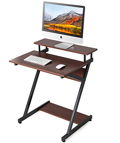 FITUEYES Adjustable Computer Mobile Desk Workstation with Monitor Shelf Study Writing Desk for Small Spaces CD307004WB