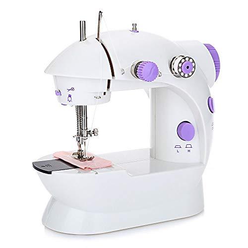 Nynel Mini Machine à Coudre Double Vitesse Réglable AC100-240V Multifonctionnel Ménage Machine à Coudre pour Enfant Les débutants, avec LED Lumière + 4 Bobines + Pédale Pied