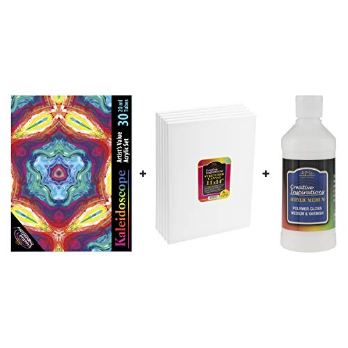 Creative Inspirations Acrylic Pouring Paint Set - Beginner Kit with 5 Pack 11x14 Canvas, 30 Assorted Colors 20ml Tubes, Thinning Medium and Gloss Varnish