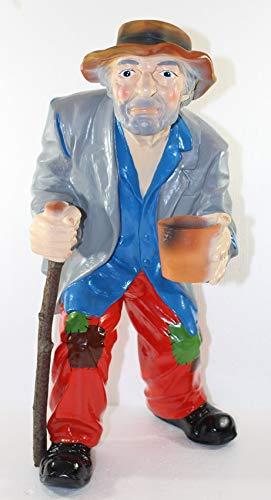 Dekorationsfigur Bettler klein mit Stock H 49 cm Dekofigur aus Kunstharz Gartendeko Garten Deko Gartenfigur Gartenskulptur