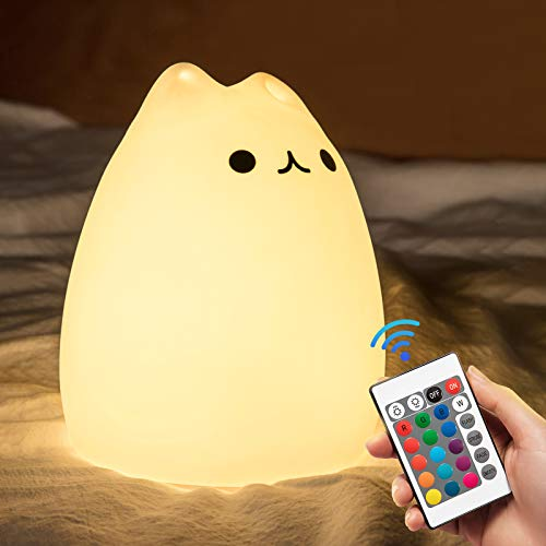 Cute Cat Night Light for Kids,Toddler,Gifts for Baby,Children,Adults,Girls,Portable Color Changing...