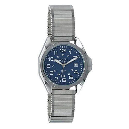 Jouailla – Orologio da uomo impermeabile con cassa in metallo, quadrante blu, data 3 ore, cinturino in metallo estensibile (755137HB)