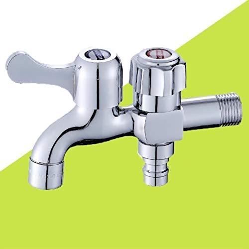 Hoge kwaliteit messing chroom 2 waterafvoer wasmachine waterkraan dubbele uitloop tuin outdoor waterkraan G1 / 2