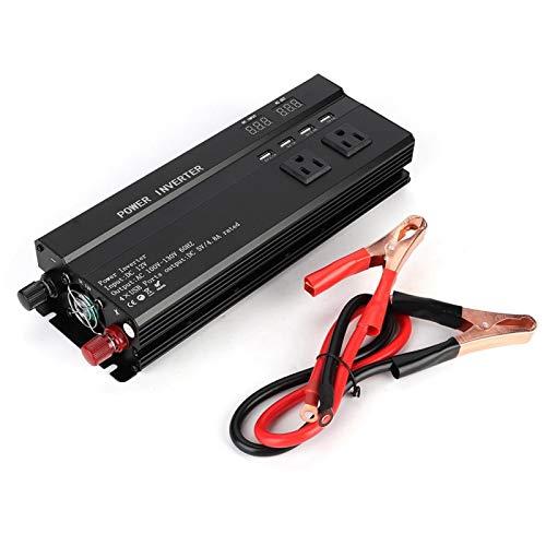 Inversor de corriente para coche, ANGGREK 6000W DC 12V a AC 110V Convertidor de inversor de corriente para coche Adaptador de cargador USB con pantalla LCD