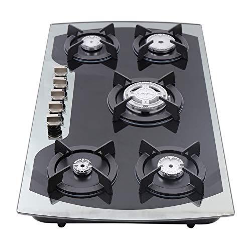 TFCFL Placa Gas Butano,Cocina de Gas con 5 Quemadores y Kit de LPG,35.5