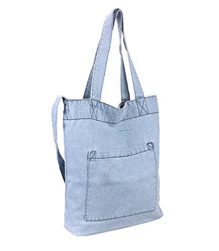 Hoxis Multifunction Pocket Soft Denim Shoulder Handbag Women Shopper Purse (Blue)