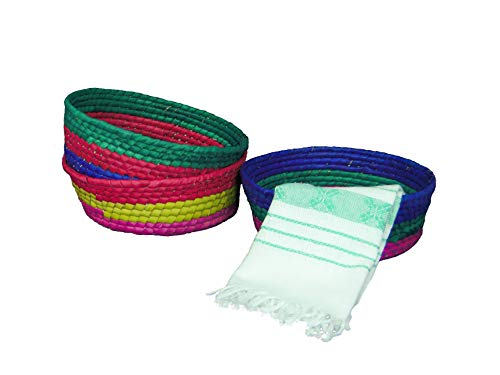 Set of 3 Mexican Handmade Multicolor Palm Baskets and 1 Woven Napkin Cloth (servilleta Mexicana) 100% Cotton Eco Friendly Tortilla Warmer (tortillero) for Party Fiesta Decoration