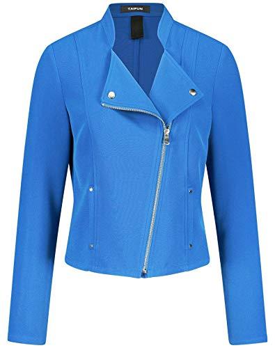 Taifun Damen Blazerjacke Im Biker-Style Figurumspielend, Tailliert Cobalt Blue 40