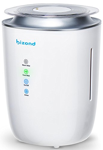 BIZOND Ultrasonic Humidifier Ultra Quiet - Warm and Cool Mist Humidifier for Bedroom, Home, Office and Kids Baby Room - 24h Air Humidifier Energy Efficient, 4l Capacity, White