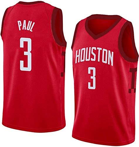 ZMIN Basketball Jersey Rockets # 3 Paul Baloncesto Uniforme de Malla Transpirable Secado rápido Fans Top sin Mangas Chaleco,XL 180~185cm