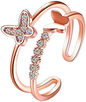 YOOESTORES82 Elegant Rhinestone Butterfly Open Ring Double Layer Crystal Butterfly Ring Adjustable product image