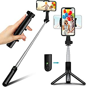 Selfie Stick Tripod with Bluetooth Remote, TEUMI Lightweight Monopod Mini Pocket Tripod for Cell Phone, Travel Tripod Compatible with iPhone 12 Pro Max, 12 Mini, 11 Pro Max, XS Max, XR, X, 8 Plus