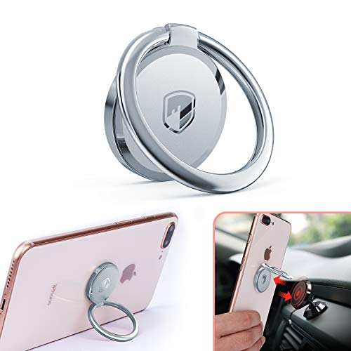 Phone Ring Holder Finger Kickstand - FITFORT 360° Rotation Metal Ring Grip for Magnetic Car Mount Compatible with All Smartphone-Sliver