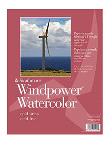 Strathmore (640-11-1 STR-640-11 Sheet Wind Power Watercolor Pad, 11 by 15'