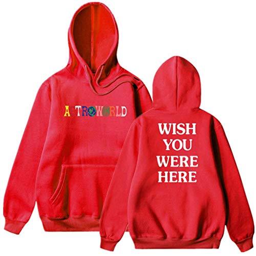 Unisex Hoodies vrouwen Sweatshirt trainingspakken Eenvoudige Losse Borduurwerk Casual Comfortabele Hooded Sweater Top Jumper Jack, Rood, XXXL