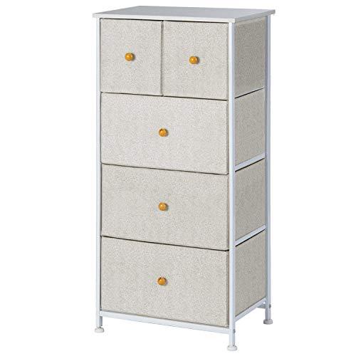 EPHEX Kommode aus Stoff – Schmaler Schrank Organizer mit 5 Schubladen für Schlafzimmer, Wohnzimmer oder Flur – kleine Kommode aus Metall, MDF und Stoff
