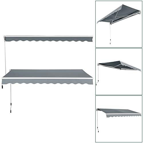 COSTWAY 3x2.5M(L x W) Manual Awning Canopy Garden Patio Sun Shade Shelter Gazebo Outdoor Retractable with Fittings and Crank Handle (Grey)