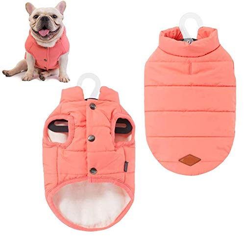meioro Dog Coat Vest for Small Medium Dogs Warm Cotton Puppy Jacket with Leash Hole, Windproof Winter Dog Outfits Apparel Pet Clothes for Indoor and Outdoor Use (S, Pink)