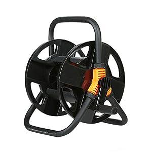 Carrete de manguera de jardín con conexión de esquina, diseño giratorio de 360°, carrito de almacenamiento para manguera…