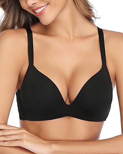 DotVol Women's Soft Foam Seamless Smoothing Contour Wire-Free Ultimate T-Shirt Bra(40D, Black)