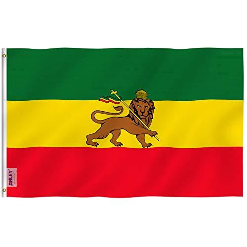 Anley Fly Breeze 3x5 Fuß Äthiopien Flagge mit Löwe - Lebendige Farbe und UV-beständig - Canvas Kopfbedeckung und Doppelnaht - Äthiopischer Löwe von Juda Flaggen Polyester mit Messingösen