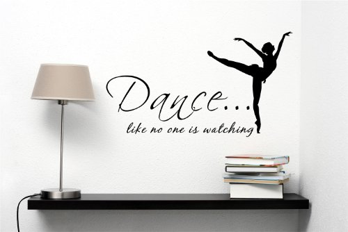 Dance... Like No One Is Watching Ballerina Dancer 22x13 Inches Kcco Symbol Matte Black Vinyl Silhouette Keypad Track Pad Decal Window Wall Quotes Sayings Art Vinyl Decal