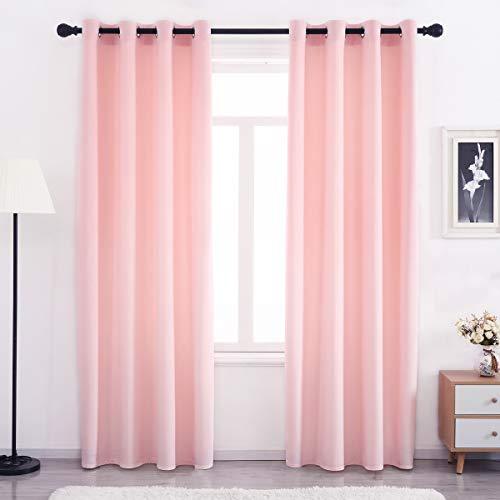SPXTEX Pink Velvet Curtains Grommet 84 inches Long Soft Velvet Textured Curtains Velvet Thermal Insulated Curtains Window Treatment for Bedroom Light Filtering Velvet Curtain Panels Set of 2 Panels
