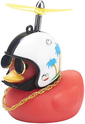 wonuu Cool Rubber Duck Car Decorations Lovely Red Duck Car Dashboard Ornaments with Propeller product image