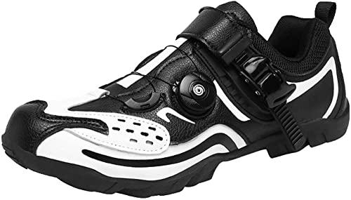 KUXUAN Zapatillas de Ciclismo Hombre Mujer Zapatillas de Ciclismo de Carretera sin candados Zapatillas de Ciclismo de montaña Ligeras y Transpirables,Black-46EU