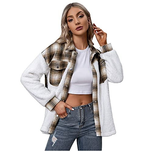 Jacket Coat Top for Women Casual Lattice Printed Buttons Lapel Long Sleeve Tunic Blouse Shirt Outwear Autumn and Winter (01 Khaki, XL)