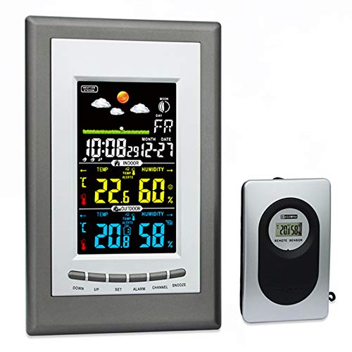 Weather Stations with Alert and Temperature/Humidity/Barometric/Forecast/Moon Phase/Alarm Clock, LCD Digital Weather Station with Outdoor Sensor for Home Office
