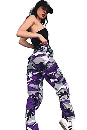 Damen Casual Hip Hop Hose Tanzhose Camouflage Bedruckte Lässige Haremshose, Lila, XXL
