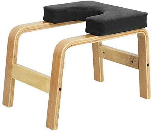 WWJ trä yoga huvudstativ bänk, läder pad stativ yoga inversion stol (färg: svart)